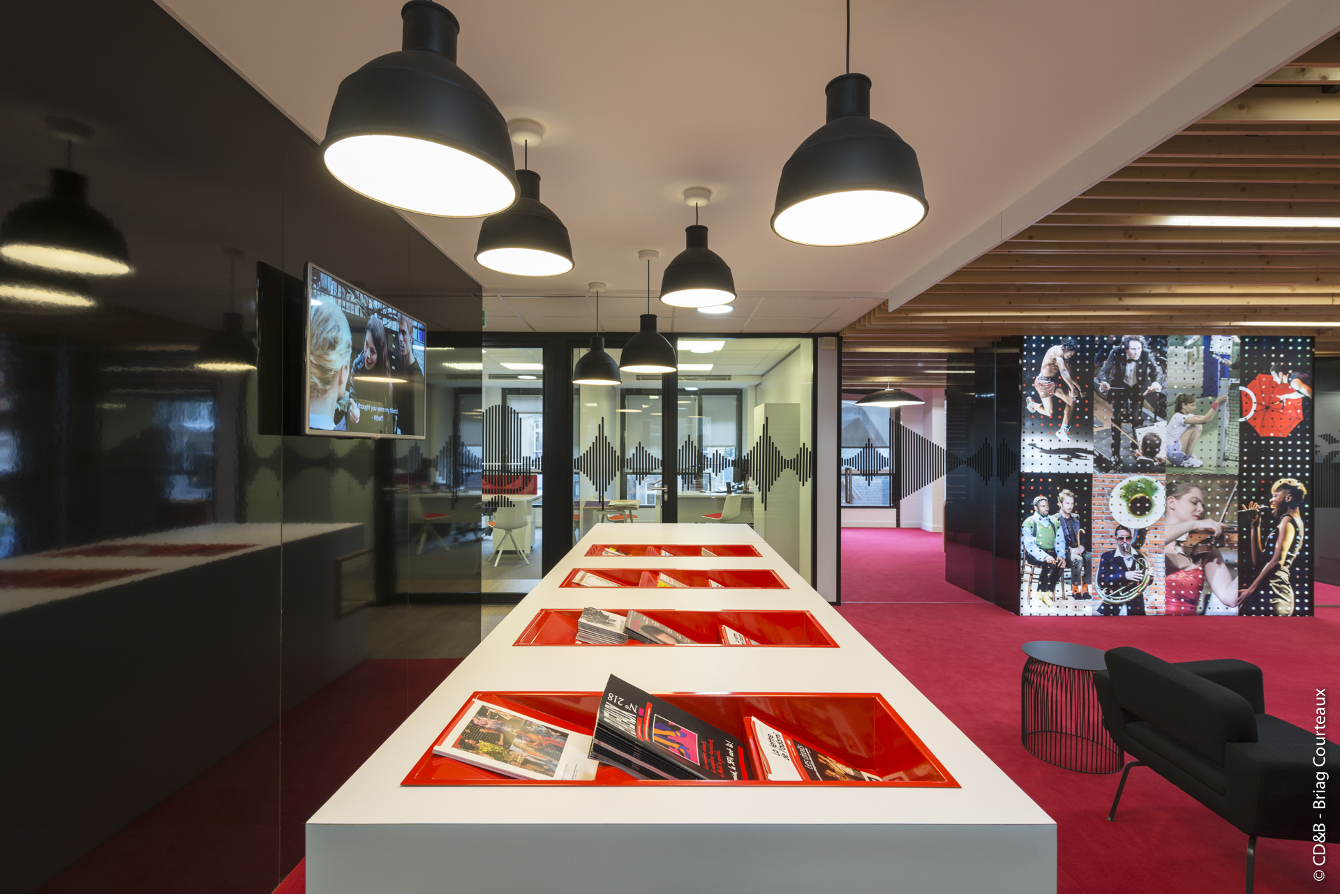 Conseil, aménagement, conception et réalisation des espaces de la société Adami par CDB, Meet you there.