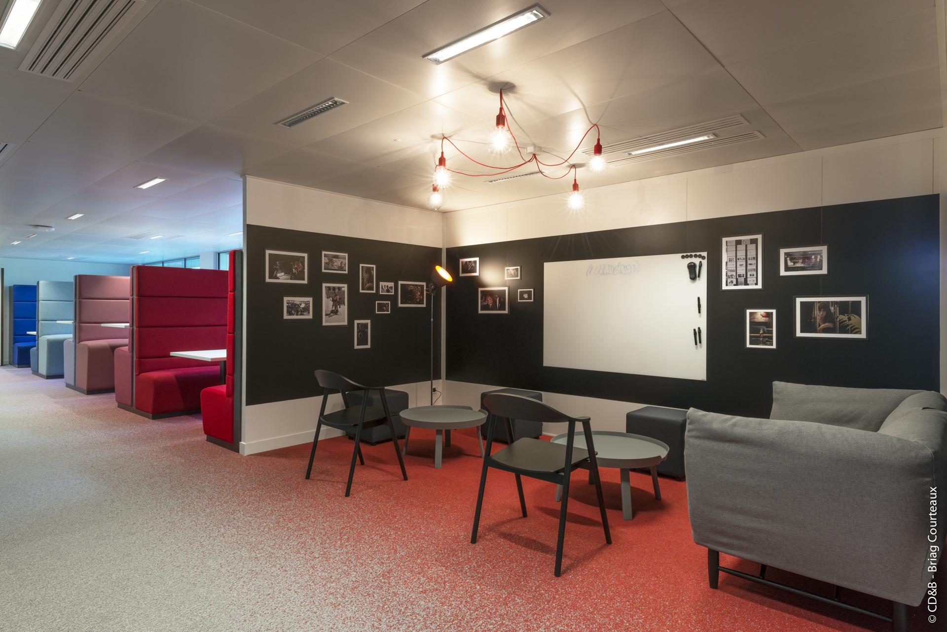 Conseil, aménagement, conception et réalisation des espaces de travail d'Orangina Schweppes par CDB, Meet you there.