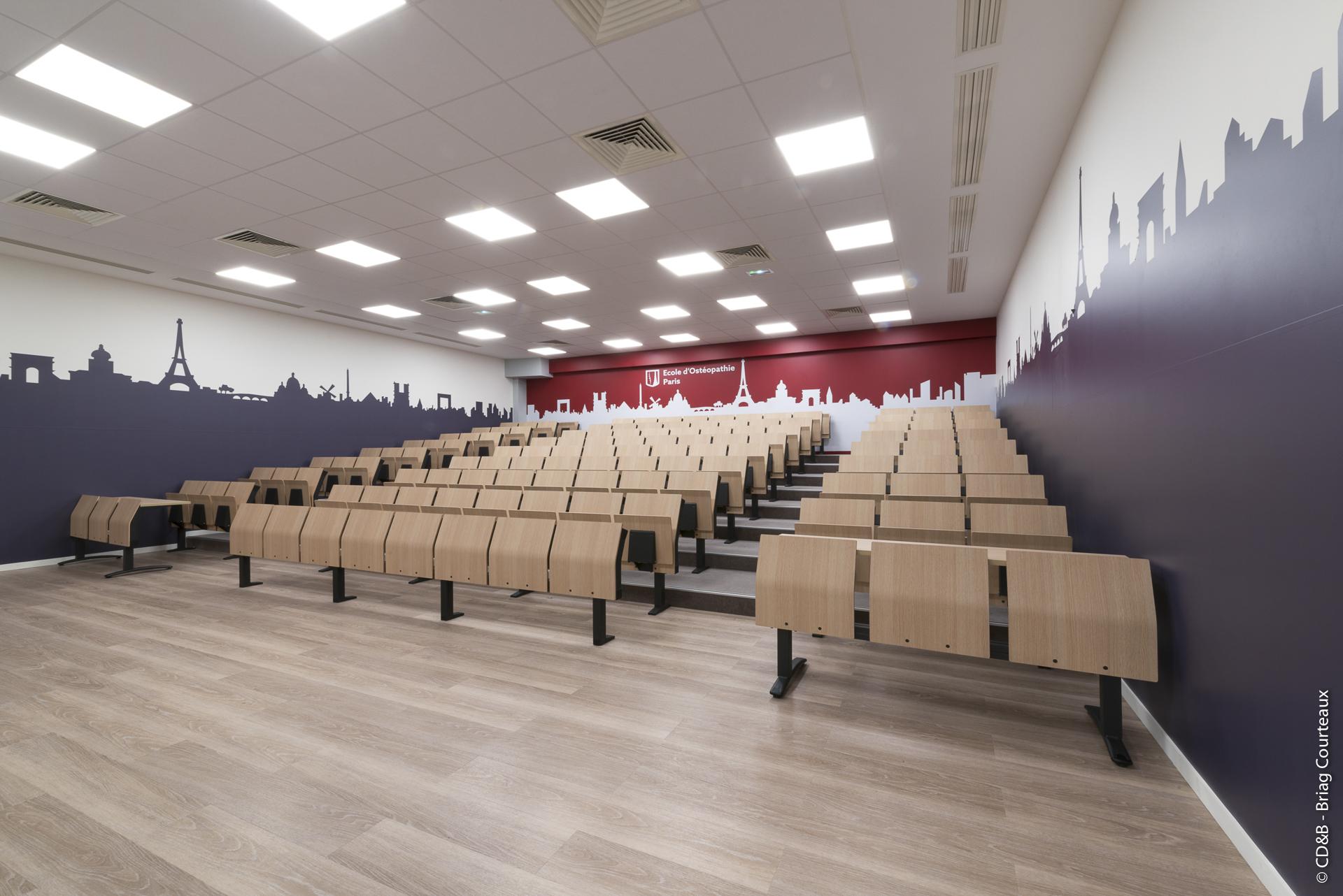 Conseil, aménagement, conception et réalisation des espaces de travail à l'École d'Ostéopathie de Paris par CDB, Meet you there.